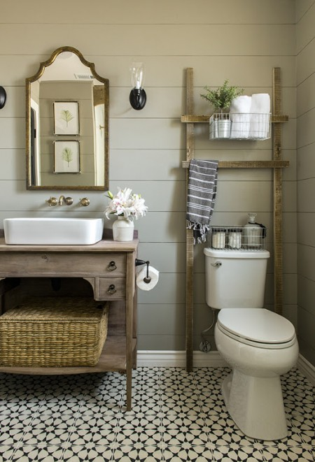 wooden ladder bathroom storage shelves