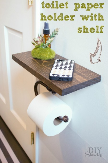 a toilet paper holder and shelf by diy show off