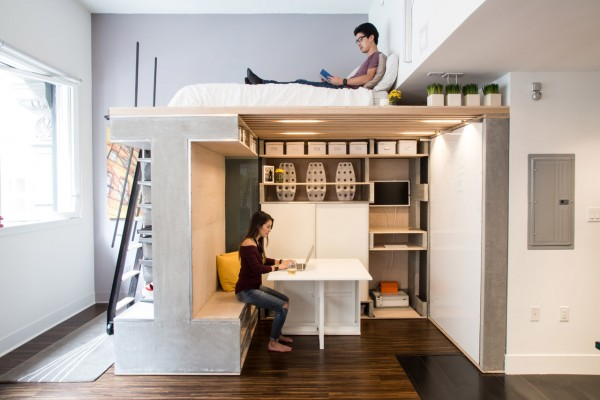 The Domino Loft has separate areas for relaxing, sleeping, working, and more.