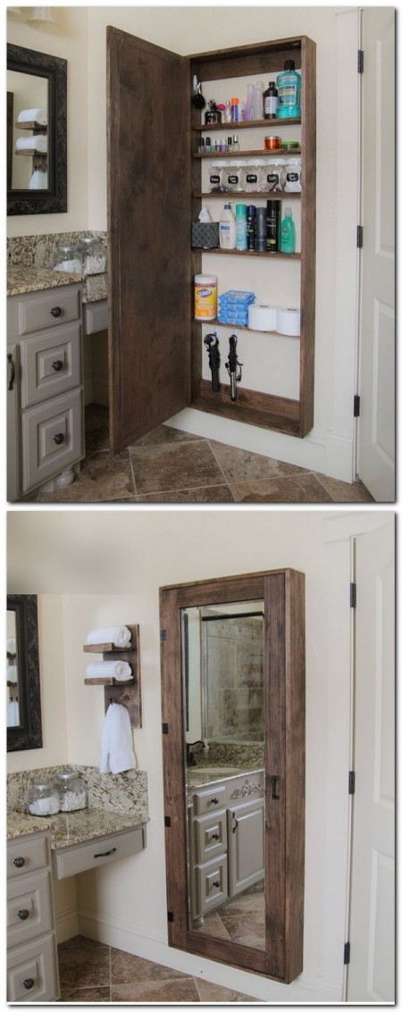 A DIY medicine cabinet with mirrors made from upcycled wood pallets stores assorted toiletries, makeup, and grooming, cleaning, and bathing supplies.