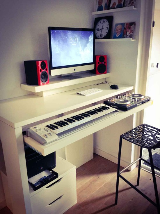 diy midi controller and keyboard storage made from ikea lack shelves, a linmon tabletop, drawer rails, and an LED