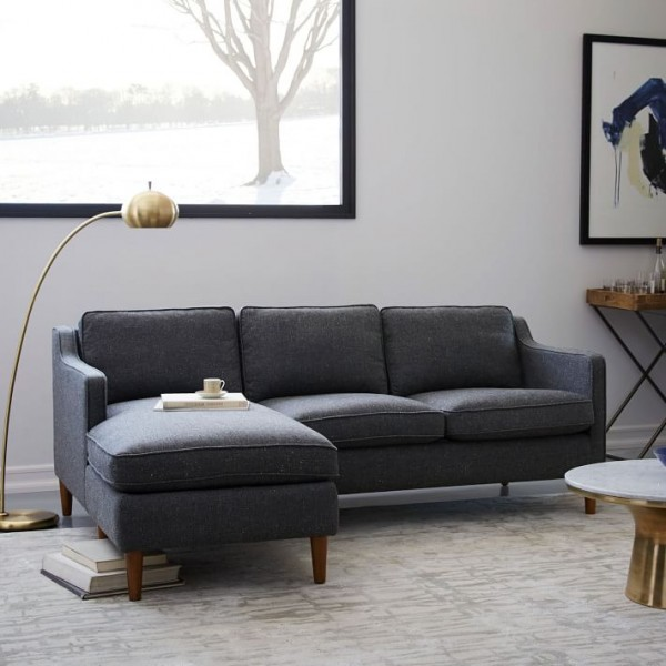 A Hamilton upholstered chaise sectional from West Elm is one of the best sofas for small : sectional in small room - Sectionals, Sofas & Couches