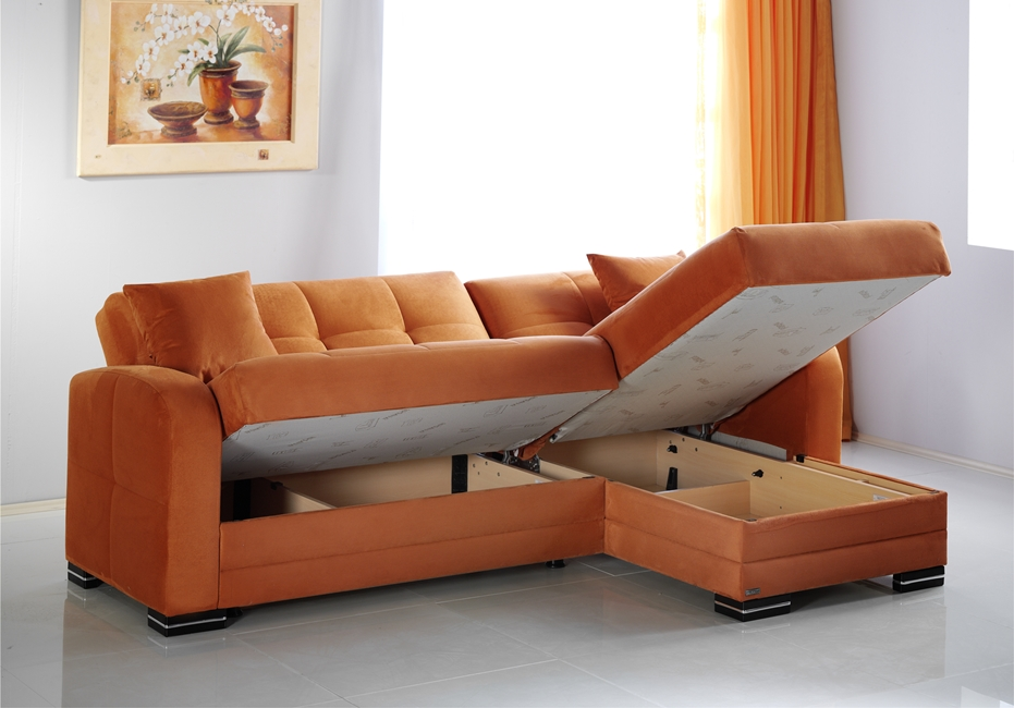 A Rainbow Orange Sectional With Storage By Istikbal Kubo.