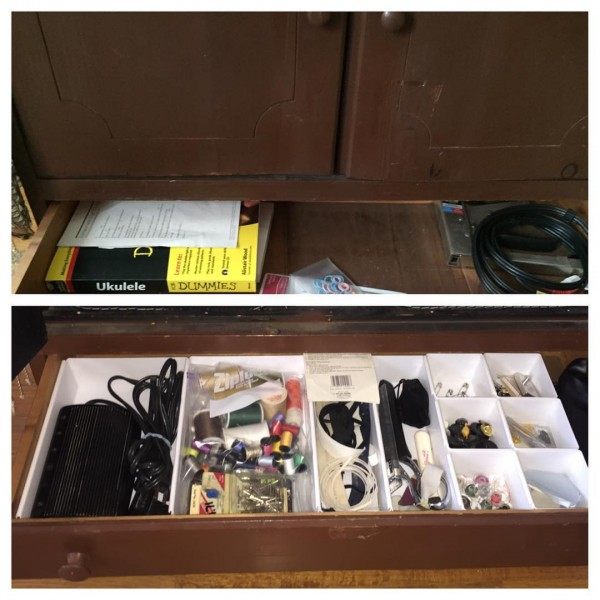 A before and after of a drawer decluttered by NYC-based Cut The Clutter.