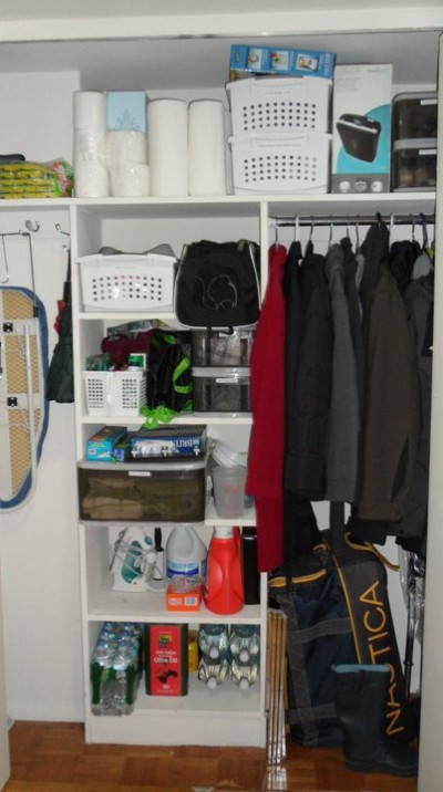 A decluttered hall closet by New York City-based Cut The Clutter.