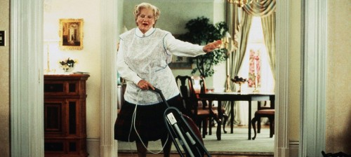 "mrs. doubtfire vacuuming to aerosmith's ""dude (looks like a lady)"""