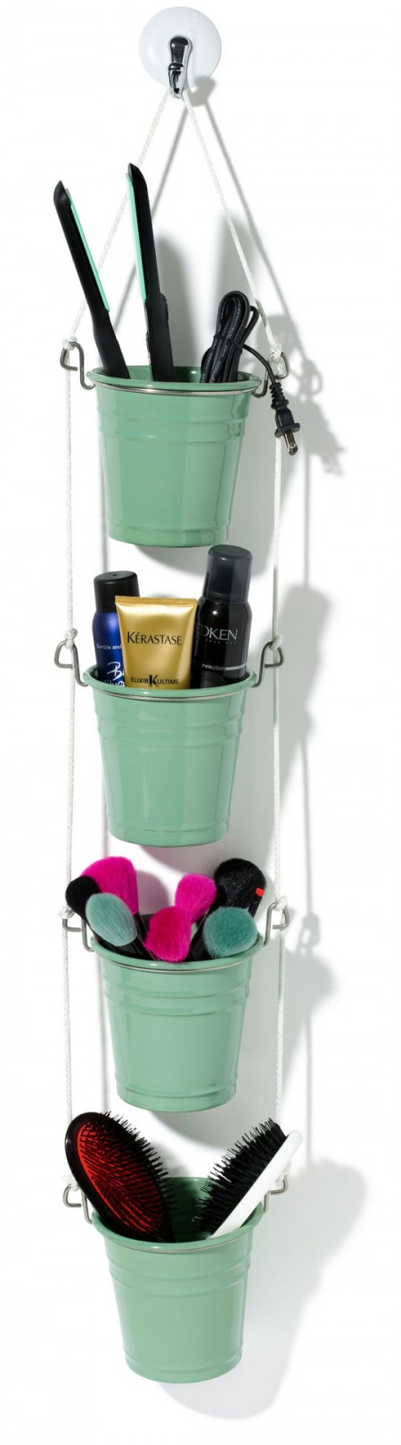 Hanging Ikea Fintorp Utensil Storing A Hair Straightener, Beauty Products,  Makeup Brushes, And Glamour. This Bathroom Storage ...