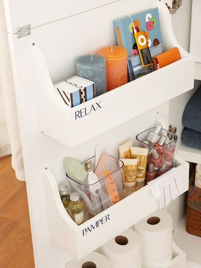Build enclosed shelves and install them behind your sink or vanity  cabinet's door
