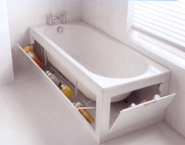 a white stowaway bath tub with built-in storage