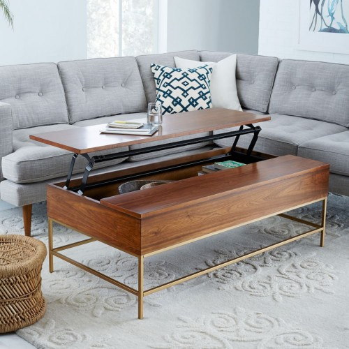 walnut/antique brass storage coffee table from west elm