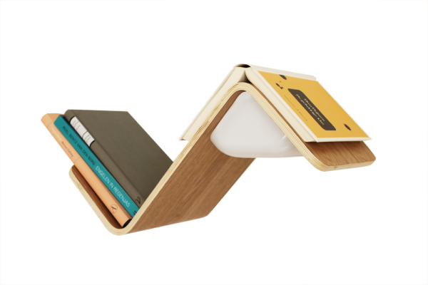 LiliLite, a wall-mounted shelf, lamp, and bookmark