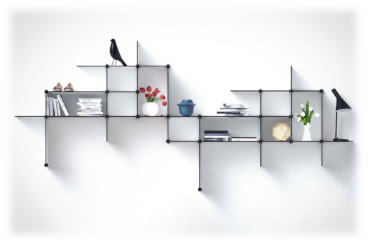 customizable up the wall shelves from bent hansen