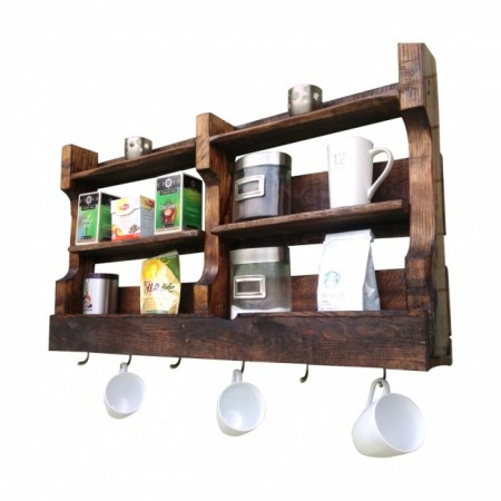 Reclaimed wood coffee and tea wall shelf from (del)Hutson Designs