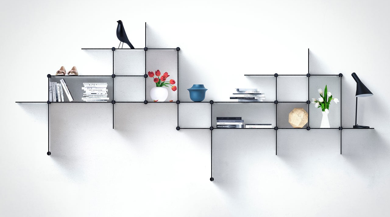 floating shelves known as up the wall shelves by bent hansen