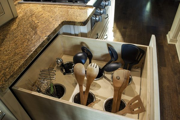 easy kitchen drawer hack: wooden cooking tools organizer