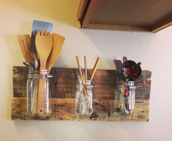 creative kitchen storage hack: mason jar utensil holder floating shelf
