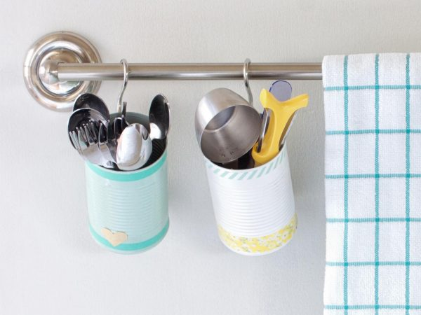 creative diy kitchen storage hack: decorated tin cans kitchen utensil holder by layla palmer