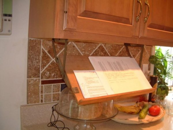 Cookbook Storage Hack: Retractable Bookstand Mounted Underneath A Kitchen  Cabinet