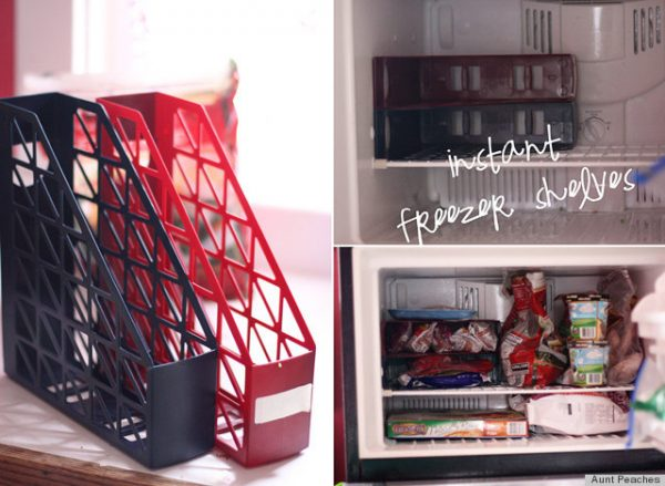 easy freezer storage hack: use magazine holders to store frozen foods
