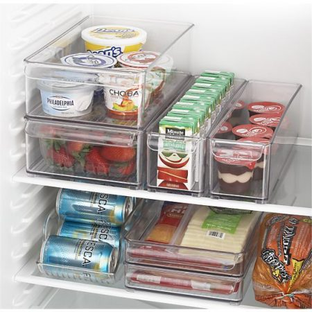 easy fridge storage hack: store yogurt, pudding, strawberries, soda cans, juice boxes and more in clear desk organizers