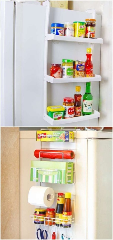 Affordable Kitchen Storage Solution: Hang A Rack With Shelves On The Side  Of The Fridge