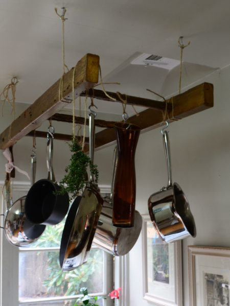 A Wooden Antique Ladder Pot Rack Hanging From Ceiling Is Brilliant Kitchen Storage