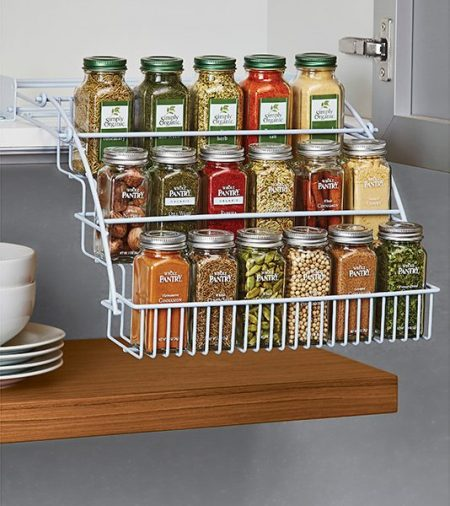 cheap kitchen cabinet storage solution: pull-out spice rack with 3 shelves