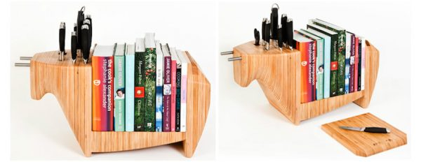 a wooden kitchen bull by toro legno is a convenient storage solution for books and knives