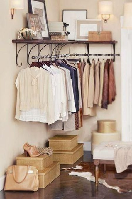 Elegant Bedroom Storage Hack: Install A Clothes Rack In An Empty Corner