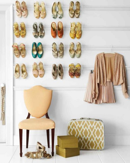 creative bedroom storage hack: mount a shoe rack into the wall