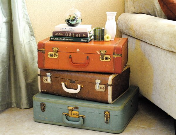 vintage suitcase table with storage
