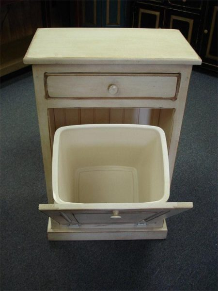 amish pine tilt-out trash bin cabinet with a storage drawer