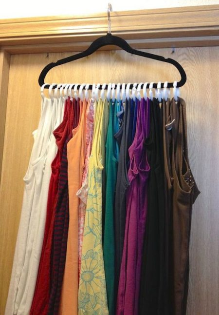 Tank Top Storage Hack: Attach Shower Curtain Rings To A Hanger And Hang It  On