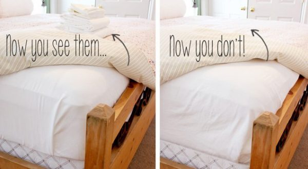 Genial Fold Your Bed Sheets And Store Them Under Your Mattress.