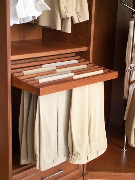 Bedroom Closet Storage Solution: Wooden Pull Out Pants Rack