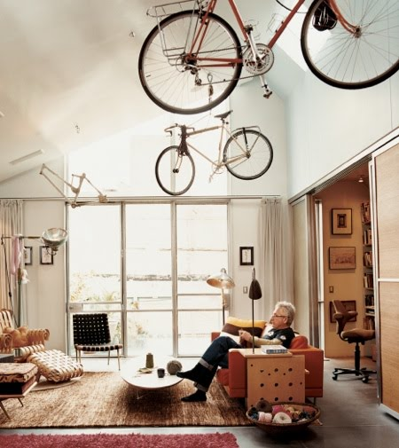 ceiling bike rack in architect/bike activist david baker's living room