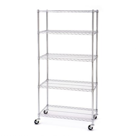 5-shelf storage rack with wheels from seville classics