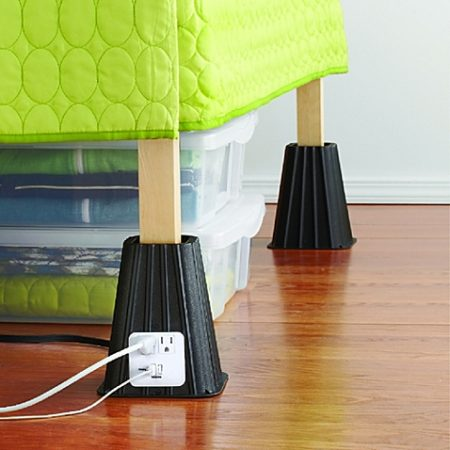 black adjustable bed risers with outlets and usb ports