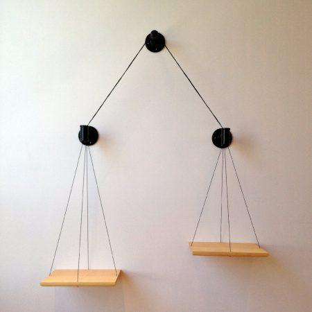 wall-mounted balance bookshelf by cush design studio on etsy