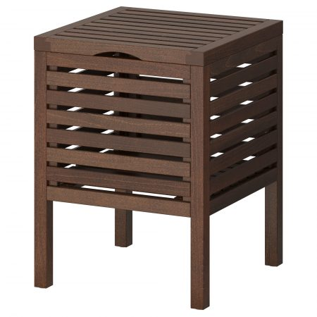 dark brown ikea molger storage stool designed by richard clack