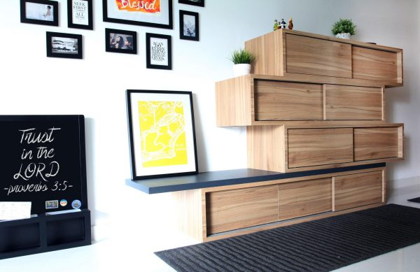 wooden diy cabinet wall storage by eightytwo, interior design professionals from singapore