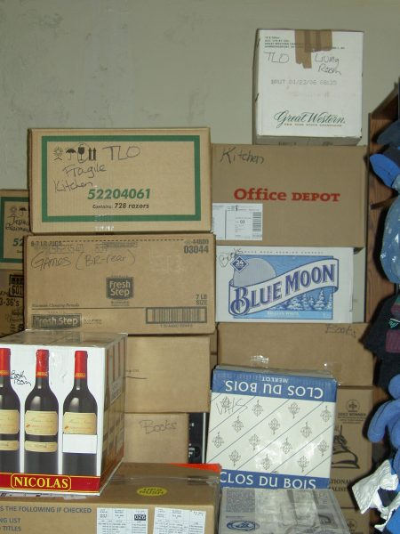 stacks of liquor store moving boxes
