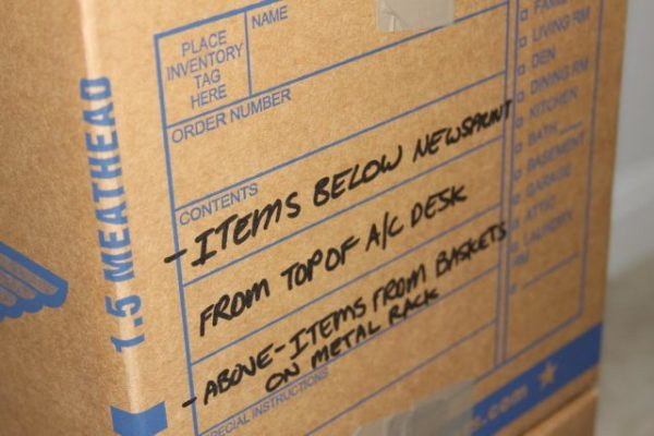 creative packing tip: label moving boxes according to item names and room name
