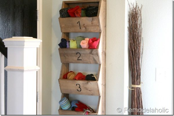How to store hats gloves scarves and boots diy glove scarf hat and shoe organizer mounted to a houses entryway wall solutioingenieria Images