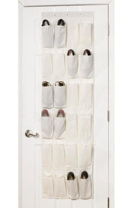 white over-the-door shoe organizer with 24 pockets