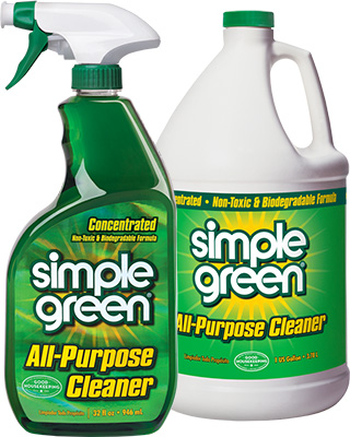 A 32 fl oz spray bottle and 1 gallon bottle of Simple Green All-Purpose Cleaner