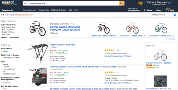 An Amazon search for beach cruiser racks