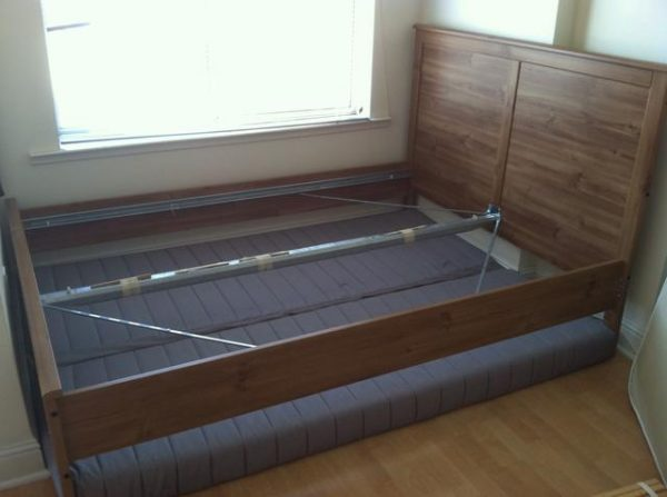 disassemble bed frame and headboard before cleaning, moving, and storing them