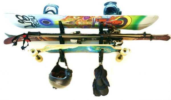 skis, skateboard, and snowboard rack
