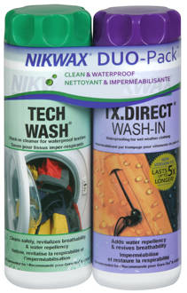 nikwax duo pack for cleaning and waterproofing wet-weather clothing